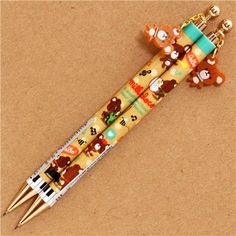 brown pencil with bears, musical instruments & bear charm by Q-Lia Stationary School, Cute Stationary, Japanese Stationery, Kawaii Stationery, Rilakkuma, Clay Pen, Pencil Toppers, Cute School Supplies, Modes4u