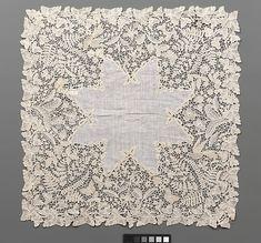 Handkerchief Possibly designed by Emma Radford  (British, 1837–1901) Date: second half 19th century Culture: British, Devon Medium: Linen and cotton, bobbin lace (Honiton)