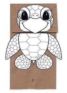 Sea Turtle paper Bag Puppet Printable