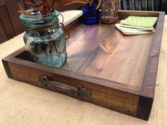 This hand crafted Rustic Wooden Ottoman Tray is a perfect way to add some charm to your home. Got one and it is absolutely beautiful!