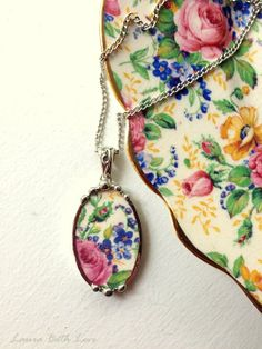 Broken china jewelry oval pendant necklace antique Rosalynde chintz pink rose with forget me nots