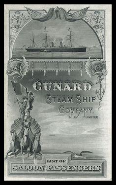 Cover of passenger list folder for R.M.S. Umbria, September 1890, engraved by Waterlow & Sons, Ltd., London