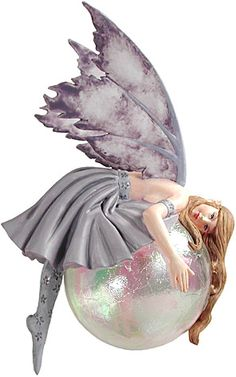 Fairy Diva Bubble Rider II . Oh how this grey/blue fairy diva loves her glass bubble, and finds comfort in showing you! Designed by world renowned artist Amy Brown