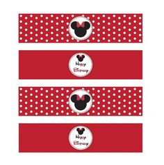 Minnie Mouse Red Printable Water Bottle Labels
