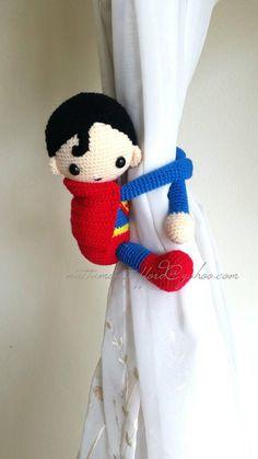 A pair of Superman Crochet curtain tie back, Superman curtain tie back. Nursery tie backs. (Made of Cotton yarn) MADE TO ORDER*** Crochet Curtains, Crochet Hooks, Adjustable Ring Crochet, Crochet For Kids, Crochet Baby, Superman Crochet, Magic Ring Crochet, Crochet Home Decor, Single Crochet Stitch