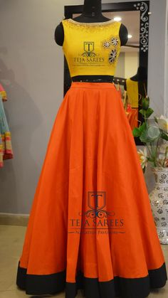 Color combination is not that good but look at the design its cute Sari Blouse Designs, Lehenga Designs, Kurta Designs, Ethnic Outfits, Indian Outfits, Fashion Outfits, Indian Clothes, Fashion Ideas, Women's Fashion