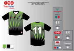 Artwork for the Special Olympics Victoria away soccer shirts