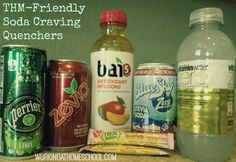 A picture of some THM approved drinks to buy when you are trying to get off of soda. From workingathomeschool.com