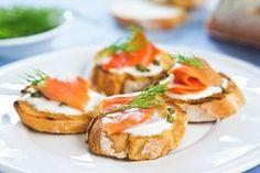 Smoked Salmon and Lemon-Cream Cheese on Crostini recipe: Simple, elegant appetizer. Elegant Appetizers, Bruchetta, Lemon Cream, Lunch Snacks, Lunches, Appetisers, Smoked Salmon, Fish And Seafood, High Tea