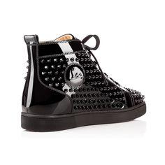 6c55314e65f6 Louis Spikes Men s Flat BLACK BLACK LUCIDO Patent - Men Shoes - Christian  Louboutin