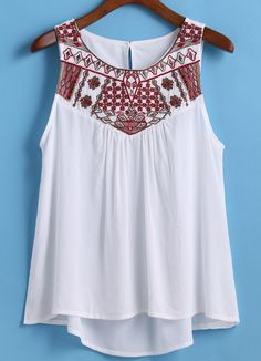 Dip Hem Embroidered White Tank Top 11.83