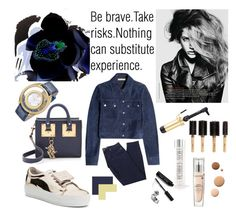 """""""Be Brave"""" by yuliagural ❤ liked on Polyvore featuring Acne Studios, Versace, Hot Tools, Ibiza Hair, Bobbi Brown Cosmetics, Sophie Hulme, Paige Denim, Michael Kors, Lumière and Lancôme"""