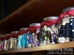 Organizing craft ribbon...Love this idea. Courtney we need to do this!