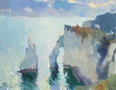 Julia Hawkins, Sunrise at Étretat Light Art, Sea Creatures, New Art, Sunrise, Past, Artwork, Gallery, Ships, Painting