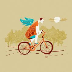 I wish I could fly by Gilian Gomes. #illustration #digitalpainting #fly #bike