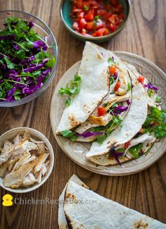 Healthy Seared Chicken Tacos by chickenrecipebox: Pan searing makes this quick and easy and keeps the chicken breast juicy and flavorful. Add some sides like fresh tomato salsa or guacamole.  #Taco #Chicken #Healthy