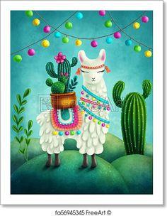 Illustration of a cute llama. Free art print of Cute llama. Alpacas, Baby Llama, Cute Llama, Images Lama, Alpaca Illustration, Llama Drawing, Llama Pictures, Decorative Hand Towels, Llama Decor