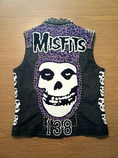 I am so making one of these for myself. Ladies Medium Black Denim Misfits Punk Vest on Etsy, $200.00