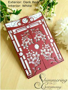 Japanese wedding gatefold invitation with by ShimmeringCeremony #cherryblossoms…