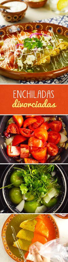 Si los huevos divorciados son tu desayuno preferido, no te puedes perder esta receta mexicana de enchiladas divorciadas con salsa verde y salsa roja asada. El relleno de pollo y el toque de crema y queso las volverá tu almuerzo preferido del #Mundial