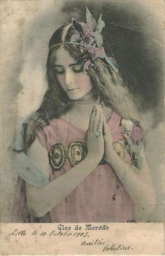 kvetchlandia:  Uncredited Hand-tinted Photograph  Cléo de Mérode, Paris   1903
