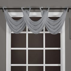 Chelsea Faux Silk Grommet Waterfall Valance With Beaded