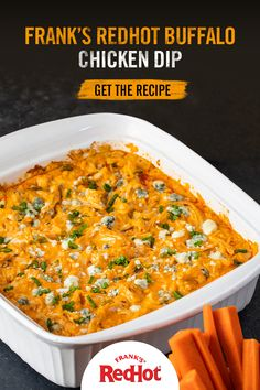 Frank's RedHot Buffalo Chicken Dip Recipe Frank's RedHot Buffalo Chicken Dip tastes like Buffalo Chicken Wings but without the mess! Serve hot with celery sticks or veggies for a creamy and delicious game day appetizer. Dip Recipes, Appetizer Recipes, Dinner Recipes, Appetizers, Cooking Recipes, Recipies, Chicken Dips, Chicken Recipes, Football Food