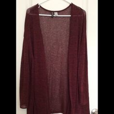 Open front maroon long sleeve top Perfect condition. See through material. Open front Tops