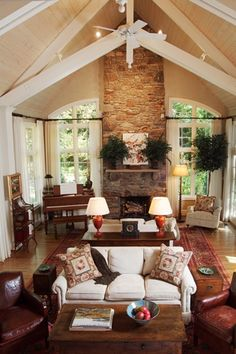 layout - like to have two seating areas, one for TV and one for the fireplace, lots of windows, even a place for the piano!