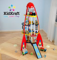 Prizeapalooza day 25 - KidKraft rocket ship play set from Jellybean Furniture Educational Toys For Kids, Kids Toys, Doll House For Boys, Toy Rocket, Rocket Ships, Boys Playhouse, Santa Claus Is Coming To Town, Baby Store, Play Houses