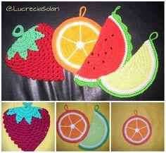 Nuevos motivos de agarraderas naranja y lima. Multifrutal multicolor, Realizadas en macrame. Elegí las tuyas!!