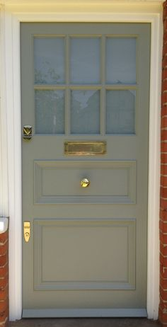 Front door color: Farrow and Ball Pigeon exterior eggshell Front Doors With Windows, Glass Front Door, Sliding Glass Door, Exterior Door Colors, Front Door Colors, Farrow And Ball Front Door Colours, Patio Doors, Entry Doors, Entryway