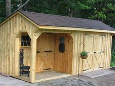 10x20 Shed with Porch, Board & Batten Siding, Shingle Roof