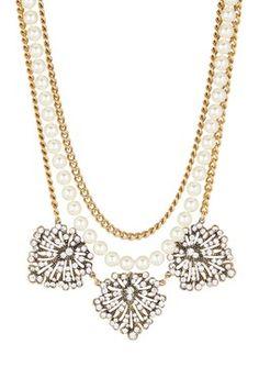 Yochi Trio Crystal Art Deco & Glass Pearl Statement Necklace