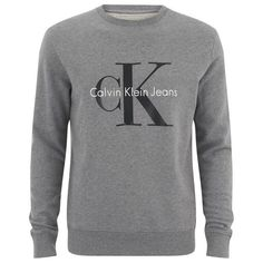 Calvin Klein Men's 90's Re-Issue Sweatshirt - Light Grey Heather ($140) ❤ liked on Polyvore featuring mens, men's clothing and grey