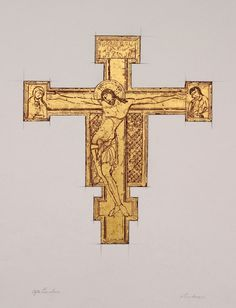Crucifix after Cimabue - Art History - The elegantly long and graceful corpus on this cross from the Basilica of Santa Croce in Florence demonstrates the influence of the Byzantine icon painting. Cimabue's oeuvre represented a step forward in the evolution of medieval art as he struggled to include a more human expression and form.  Mixed media drawing with 22-carat gold leaf