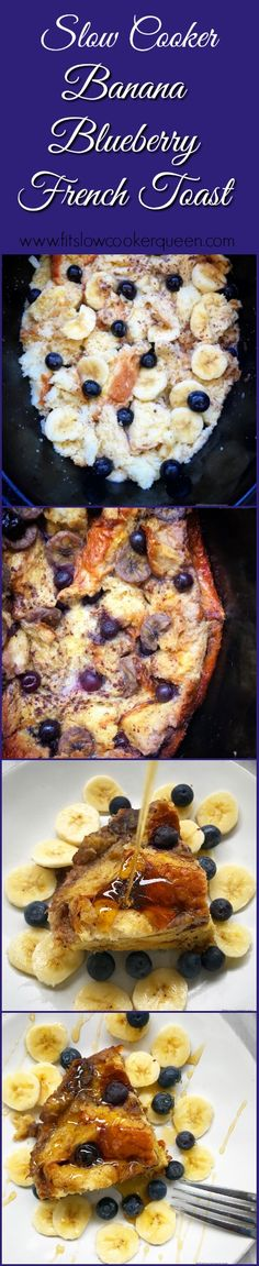 This French toast made with bananas and blueberries cooks overnight in the slow cooker. Wake up to an aromatic kitchen and fluffy, delicious French toast breakfast that's sure to impress Crock Pit Recipes, Cooking Recipes, Easy Brunch Recipes, Breakfast Recipes, Easy Recipes, French Toast Slow Cooker, Crockpot Breakfast Casserole, Blueberry French Toast, Slow Cooker Desserts