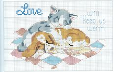 Cross-stitch Love Will Keep Us Warm, part 1..  color chart on part 2...    Gallery.ru / Фото #46 - Коты и кошечки - feya1aha