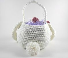 Easter Bunny Basket Crochet Easter Basket Bunny by ProchetByEAS, 34.00