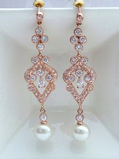 Bridal Earring - Round Ivory Pearl with Rose Gold Plated Chandelier Cubic Zirconia Fancy Post Earrings