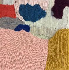 "Knitted collage by Danish artist, Stine Leth, who grew up, ""with a pencil in her hand."""