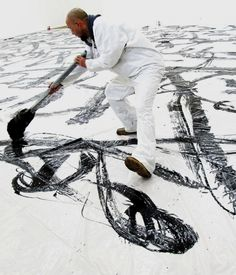 chinese calligrapher Qin Feng in action - calligraphy
