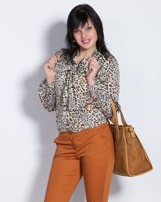Дамска риза с леопардова шарка - Klara #Efrea #Ефреа #online #онлайн #пазаруване #дрехи #риза #леопард #панделка