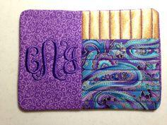 Elegant Purple and Gold Mug Rug Candle Mat Monogram Free on Etsy. Perfect teacher gifts ! $7.99