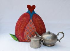 Felted teapot cozy pomegranate