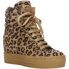 Steve Madden Barness ($200) ❤ liked on Polyvore featuring shoes, sneakers, heels, leopard, leopard high top sneakers, lace up sneakers, platform sneakers, leopard print shoes and platform wedge sneakers