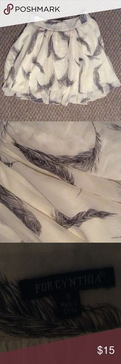 Beautiful feather skirt! 🍂 Beautiful black and off white feathered skirt! Great condition ! For Cynthia Skirts