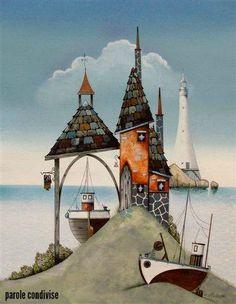 Gary Walton - The Four Spires Art Fantaisiste, Lighthouse Art, Art Populaire, Photo Vintage, Am Meer, Art Moderne, Naive Art, Whimsical Art, Painting Inspiration