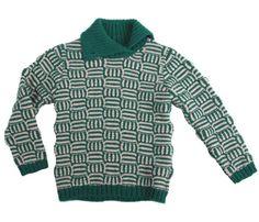 Aymara dikke groene/ecru pull met kraag