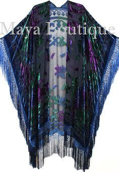 Maya Matazaro Tye Dye Navy Blue Multi Fringe by BoutiqueMaya
